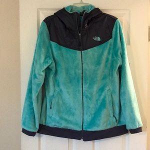 Women's North Face hooded fleece jacket size XL